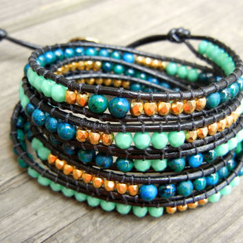 Beaded Leather Wrap Bracelet 4 or 5 Wrap with Gold Nuggets Blue Green Jasper and Turquoise Czech Glass Beads on Black Leather