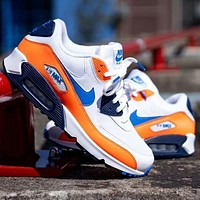 Nike Air Max 90 ESSENTIAL Fashion Contrast Shoes Fresh Colorul White Orange