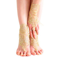 Gold lace barefoot sandals, beach wedding sandals, wedding anklet, nude shoes, boho sandal, desert wedding, coupon code, belly dance shoes