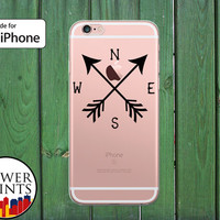 Compass Black North South East West Travel Explore Clear Rubber Phone Case for iPhone 5/5s and 5c and iPhone 6 and 6 Plus + and iPhone 6s
