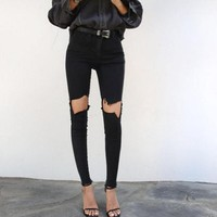 Fashion Personality Hollow Ripped Jeans Trousers Women Pencil Pants