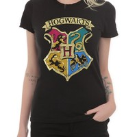 Hot Topic Women's Harry Potter Hogwarts Gold Foil T-Shirt