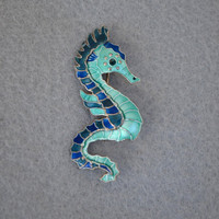 Sterling Silver and Enamel Sea Horse Vintage Pin