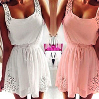 Pink Chiffon Sleeveless Summer Beach Dress- Plus Size