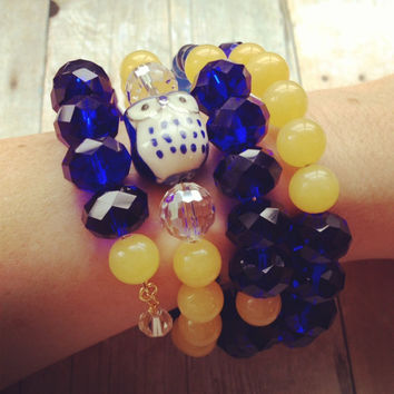 Beaded Memory Wire Wrap Bracelet,  Owl Beads Cobalt Blue Yellow