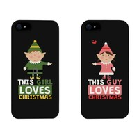 This Guy / Girl Loves Christmas Cute Elf Couple Matching Phone Cases for iphone 4, iphone 5, iphone 5C, iphone 6, iphone 6 plus, Galaxy S3, Galaxy S4, Galaxy S5, HTC M8, LG G3