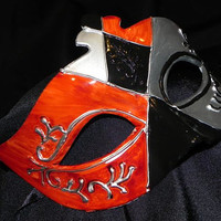 Black, Red, and Silver Venetian Mask