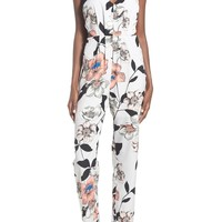 Leith Strappy Floral Print Jumpsuit   Nordstrom