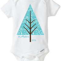 Mid-Century Modern Christmas Holiday Baby Onesuit Shirt - Personalized with child's name - 2014 - Blue or Red Christmas Tree Cutomized