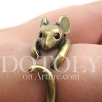 Miniature Mouse Ring in bronze - Sizes 4 to 9 Available by Dotoly