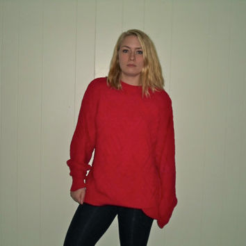 90s Baggy Cute Bright Red Sweater, Thick Comfortable Pullover Crewneck