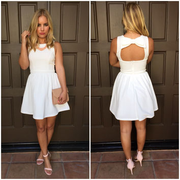 Double Bow It Babydoll Dress - Ivory