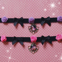 Pastel goth rose galaxy choker necklace. Purple,pink . Decora, fairy kei, visual kei, kera, goth, witch, lolita, punk, anime magical girl