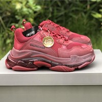 Balenciaga Triple S Clear Sole Trainers Wine Red Sneakers - Best Online Sale