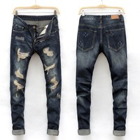 Hot Sale Ripped Holes Slim Denim Jeans [164468785181]