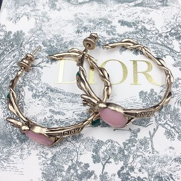 Dior New fashion letter round circle long earring Golden