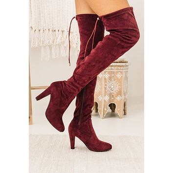 IMPERFECT Evalina Faux Suede Thigh High Boots (Burgundy)
