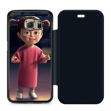 Monsters Inc Boo Fun Leather Wallet Flip Case Samsung Galaxy S6