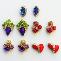 10 Pc 3D Nail Charms,Purple Nail Charm Cluster, Pink 3D Nail Cluster,Red Heart Decorative Nail Art, Rhinestones