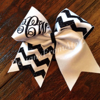 Navy and White Chevron Monogrammed Cheer Bow