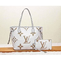 LV Louis Vuitton New fashion monogram print handbag shoulder bag two piece suit women White