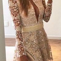 White Floral Long Sleeve Lace Dress