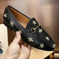 GUCCI New Fashion Female Bee Star Love Heart Shoes Black