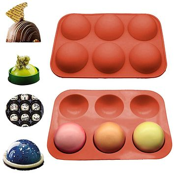 Half Sphere Silicone Soap Molds Bakeware Cake Decorating Tools Pudding Jelly Chocolate Fondant Mould Ball Biscuit Baking Moulds