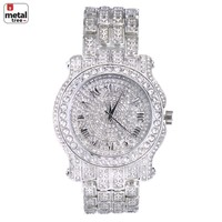 Jewelry Kay style Rapper Hip Hop Fashion Iced Out 14k Gold Plated Heavy Bezel Case Men's Watches