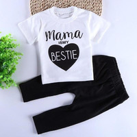 2017 spring infant clothes baby clothing sets boy Cotton mama is my bestie short sleeve t shirt+pants baby girl clothes R2-16H