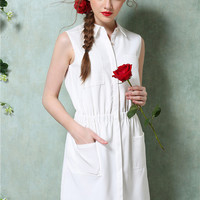 White Shirt Collar Sleeveless Shirtwaist Mini Pencil Dress with Pockets