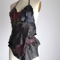 Goth Leather Top - Leather Festival Top - Festival Clothing - Halter Tops - Burning Man Clothing - Steampunk Clothing