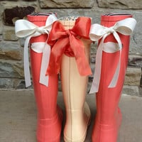 Last Pair Coral Rain Boot with Custom Cream Bow Size 9