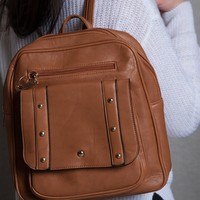 Lucky 21 Elegant Faux Leather Lightweight Backpack With Rivets - Brown