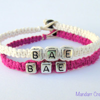 BAE Bracelets for Couples or Best Friends, White and Punk Pink Handmade Hemp Jewelry