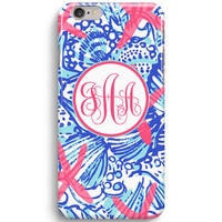 She She Shells Customized Monogram Inspired Lilly Pulitzer Sea Beach Stars iPhone 6 Case, iPhone 5S Case