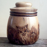 Wood Pot with Wood Burning (Pyrography) Cat design. Wood Turning, lidded box, Cat decor, pyrography cat, Wooden Pot, cat lover, trinket box