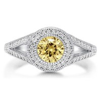 Canary CZ 925 Sterling Silver Split Shank Halo Solitaire Ring 0.84 ct #r531