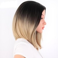 Ombre Blonde Straight Bob Short Shoulder Length Synthetic Wig