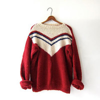 Vintage 50s hand knit sweater. chunky wool sweater. oversized pullover. red cream blue.