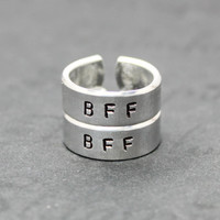 Pair BFF Rings with Two Initials, Best Friend Forever Matching Rings, Hand Stamped Aluminum Jewelry, Best Friends BFF Love Gift