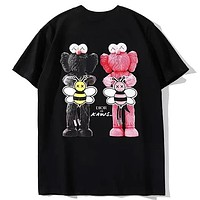 Dior x Kaws Joint Digital Direct Injection Big Bee Print Round Neck Half Sleeve T-Shirt Black