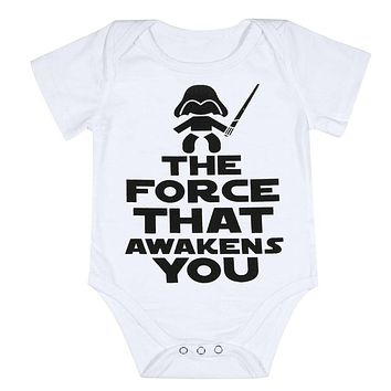 Funny Newborn Infant Clothes Force Awakens You Letter Print White Short Sleeves Tiny Cottons Baby Bodysuits Baby Onesuit 0-18M