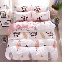 Adult Kids Blue leaves Bedding Sets Boys Girls Quilt Duvet Cover Bed Sheet Linen Cartoon Pattern Bedspread Queen full twin Size