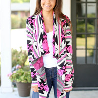 What's Going On Cardigan - Pink and Black