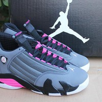 Air Jordan 14 Retro AJ14 Black/Gray/Pink Sport Shoe
