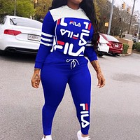 FILA Fashionable Women Print Hoodie Long Sleeve Top Pants Sweatpants Two-Piece Set Blue