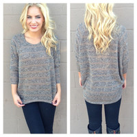 Grey & Mocha Knit Sweater Top
