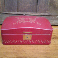 Vintage Maroon Red Jewelry Box With Red Interior Great For Jewelry Storage and Display