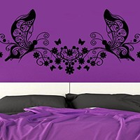 Wall Decal Floral Patterns Vinyl Sticker Decals Nursery Art Decor Design Lettering Flowers Butterfly Bedroom C451
